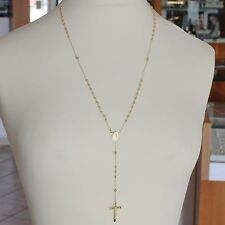 NECKLACE ROSARY YELLOW GOLD 750 18K MEDAL MIRACULOUS CROSS 63 CM MADE IN ITALY