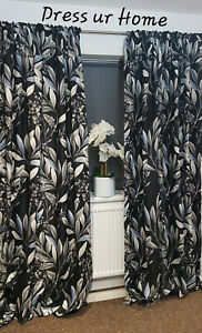 A pair of Curtains Black and Leaves White Grey Pencil Pleat