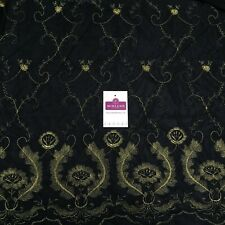 Black gold lace / net stretch border dress Fabric M186-63 Mtex