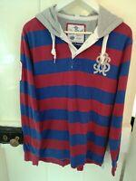 Men's Saltrock Rugby shirt Style Hoodie Full Length sleeves UK Medium striped