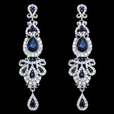 18K WHITE GOLD/P SAPPHIRE BLUE AUSTRIAN CRYSTAL LONG DANGLE STATEMENT EARRINGS