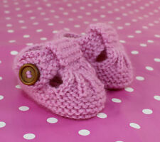 PRINTED KNITTING INSTRUCTIONS - EASY BABY T BAR BOOTIES SHOES KNITTING PATTERN