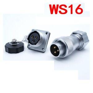 WS16 2Pin-10PinTP+Z Female Metal Hose Plug Male Square Flange Rear Mount Socket