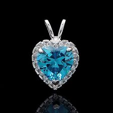 Halo Heart Pendant 1.00CT Clear & Topaz Blue Charm Solid 14k White Gold Round