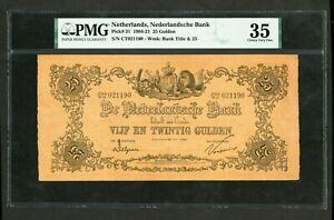 NETHERLANDS 25 GULDEN 1920  PICK # 21 PMG 35 CHOICE VERY FINE.