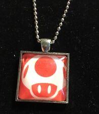 Nintendo Super Mario Bros Mushroom Silver Photo Pendant Necklace with Chain