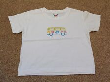 Fruit of the Loom Baby Girls Short Sleeve White VW Campervan Top. 1 - 2 years.