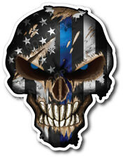 4x Thin Blue Line Police Skull USA American Flag Sticker Vinyl Decal Car Truck