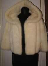 rare stunning white real mink fur coat jacket large collar soft supple plush