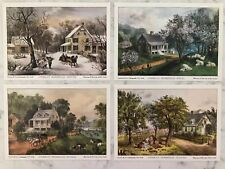 Currier & Ives Lithographs For American Homestead Four Seasons Series