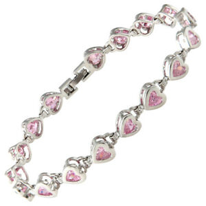 Heart Pink Sapphire Zirconia CZ Bracelet White Gold Filled Birthday Gift 7 1/4""