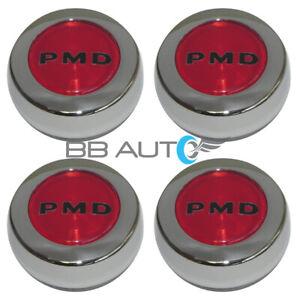 Set of 4 67-72 Pontiac Red PMD Rally Wheel II Center Caps Firebird Trans Am GTO