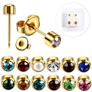 Studex Ear Piercing Regular Stainless Steel Stud Earrings 2mm Bezel Birthstones*