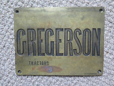BRASS SIGN FOR GREGERSON TRACTORS BURMEISTER USA?? c1940s FARM MACHINERY