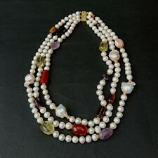 """3 rows Cultured White Pearl Keshi Pearl Multi Gemstone Necklace 19"""""""