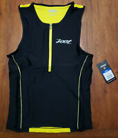 Zoot Mens Large Tri Tank Performance Top Yellow Compression Triathlon Shirt L