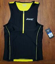 Zoot Mens Medium Tri Tank Performance Top Yellow Compression Triathlon Shirt M