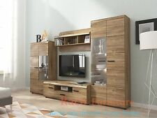 "TV Wall Unit ""LINK"" Set of Living room Furniture /4 piece wall unit/Oak Stirling"