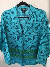 VIRGO Women's Size 14 / Plus Sz 1X  Awesome Pattern Print Beaded Cropped Jacket