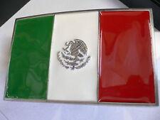 Men Women Silver Western Cowboy Belt Buckle Mexico Mexican Flag Silver Eagle