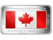 50 $ Dollaro 50 Anni Bandiera Canada 2015 PP 1,5 Once d'argento