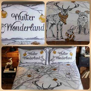 Bedding Heaven® FESTIVE WINTER WONDERLAND DUVET COVER SET  CHRISTMAS STAG BUNNY