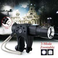 Recharge 10000LM LED Bicycle Bike Light Headlight Torch Flashlight Lamp W/Mount