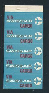 85029) Luftpost Zettel Schweiz SWISSAIR 5er Heftchenblatt, SLH 20 CHF