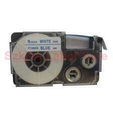 "Compatible Casio XR-9WEB Blue on White 9mm 8m Label Tape 3/8 x 26""  XR-9WEB1"