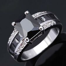 Size 10 Black Sapphire Men Women18K Gold Filled Fashion Anniversary Rings Gift