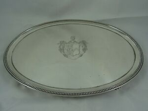 SUPERB, GEORGE III solid silver OVAL SALVER, 1785, 692gm - INCUSE HEAD