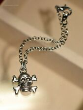 Chain Doll Necklace with a Punk Style Skull Pendant (Antique Silver Plated)