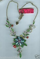 "Betsey Johnson Blue Floral ""Y"" Necklace w/Ladybugs & Dragonfly & Crystals, BT"