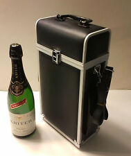 Double Bottle Travel Wine Carrier with Aluminium Trim. Wine case.