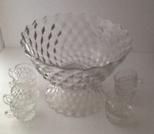 "FOSTORIA AMERICAN Clear 13-1/2"" Glass PUNCH BOWL, Pedestal 8 Cups Footed Crystal"