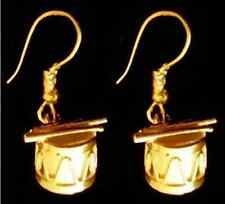 Gold Plated Drum & Sticks Earrings set Silver Jewelry