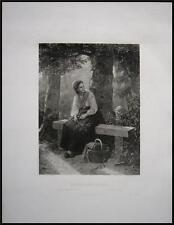 1878 Large Antique von Bremen Print Mother and Child