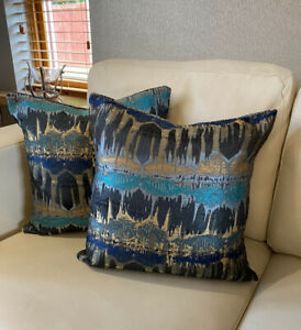Handmade Envelope Cushion Cover In Fryetts Inca Fabric Teal, Navy, Gold 16x16