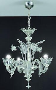 murano chandelier 3 light crystal
