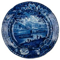 An Antique Historical Blue Staffordshire Entrance Of the Erie Canal Hudson Plate