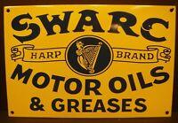 "Swarc Motor Oils & Greases Porcelain Enamel Sign Gas Oil Autos 11.75"" x 7.875"""