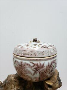 Chinese Porcelain Red Glaze Incense Burner