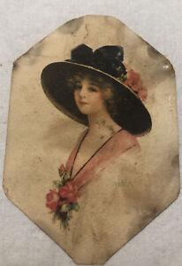 Vintage Lady Art Print Ohio Arts Co. Bryan Ohio Pink Flowers