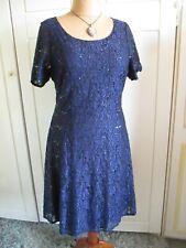 Evans Azul Marino Encaje Vestido Talla 20