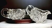 Antique American Brilliant ABP Hand Cut Glass Open Sugar Bowl And Creamer Set