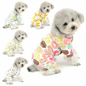 New Funny Print Cotton Small Dog Pajamas Puppy Jumpsuit Yorkie Chihuahua Clothes