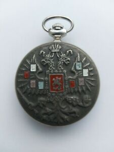 Vintage Russian Silver Plated Limited Edition MOLNIJA pocket watch working order