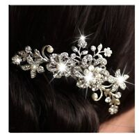 Fashion Bridal Flower Hair Comb Wedding Crystal Pearl Clip Slide Tiara Headband