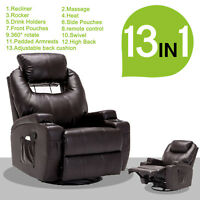 Electric Recliner Sofa Massage Chair Ergonomic Lounge Swivel Heated with RC