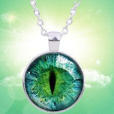1Stk. Grün Katze Auge Halskette Kunst Schmuck Handmade Geschenk Neu